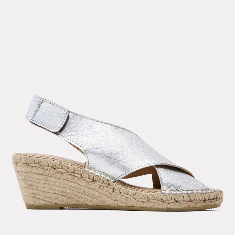Espadrille - Florence Leather Espadrille Wedge Sandal (Silver)