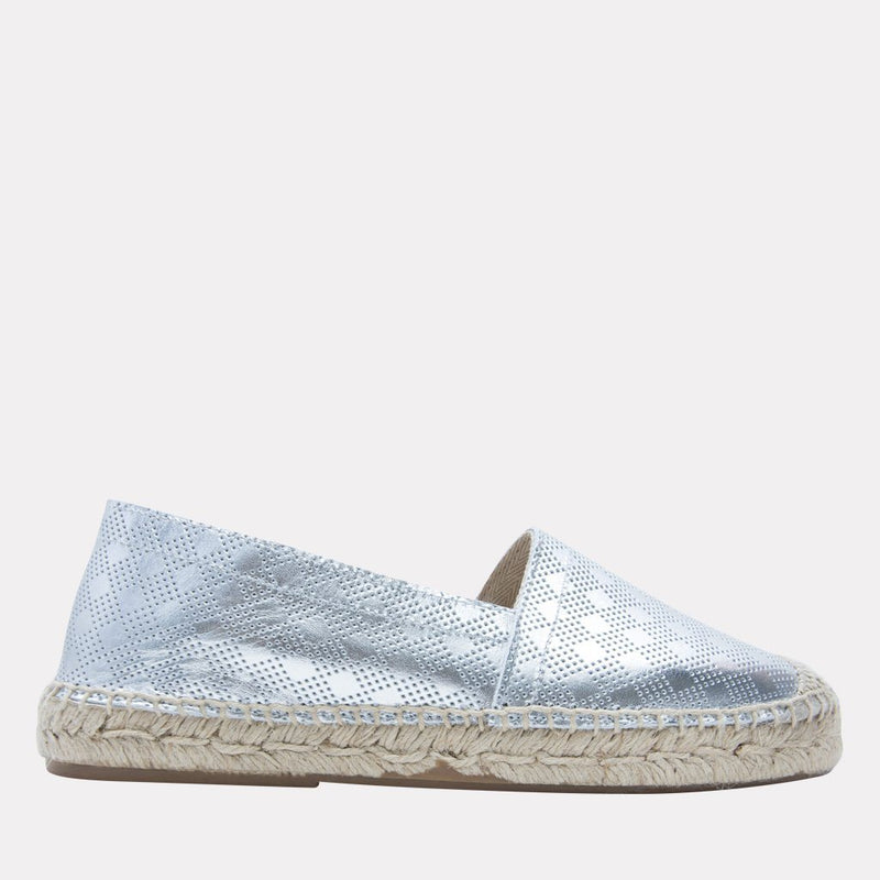 Espadrille - Ilia Metallic Leather Slip On Espadrille (Silver)