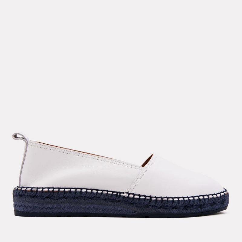 Espadrille - Indigo Leather Slip On Espadrille (White/Navy)