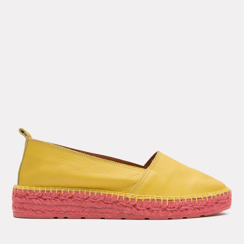 Espadrille - Indigo Leather Slip On Espadrille (Yellow/Orange)