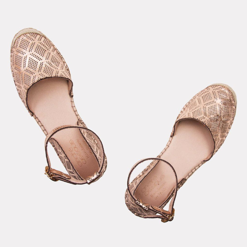 Espadrille - Ingrid Metallic Perf Leather Espadrille (Rose Gold)