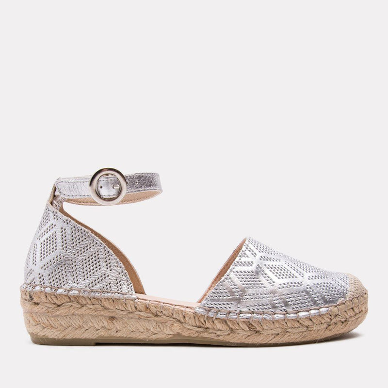 Espadrille - Ingrid Metallic Perf Leather Espadrille (Silver)