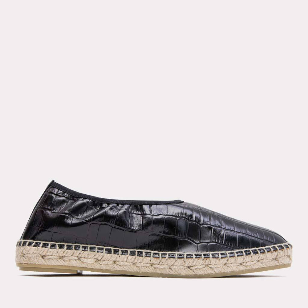 Espadrille - Laurel Embossed Croc Leather Slide On Espadrille (Black/Croc)