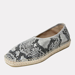 Espadrille - Laurel Printed, Textured Leather Slide On Espadrille (White Snake)