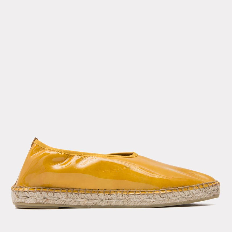 Espadrille - Laurel Wet Patent Leather Slide On Espadrille (Mustard Patent)