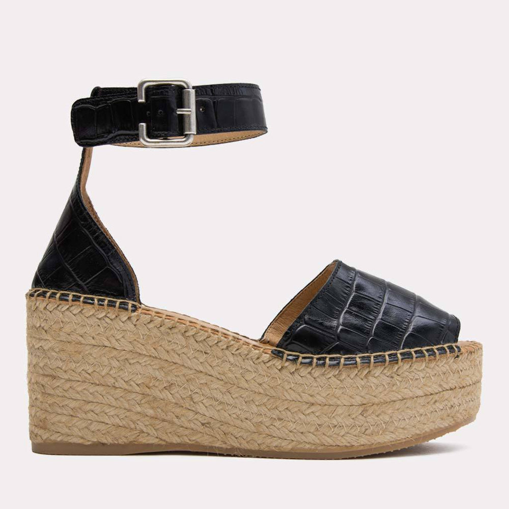 Espadrille - Luz Embossed Crocodile Leather Espadrille Wedge (Black/Croc)