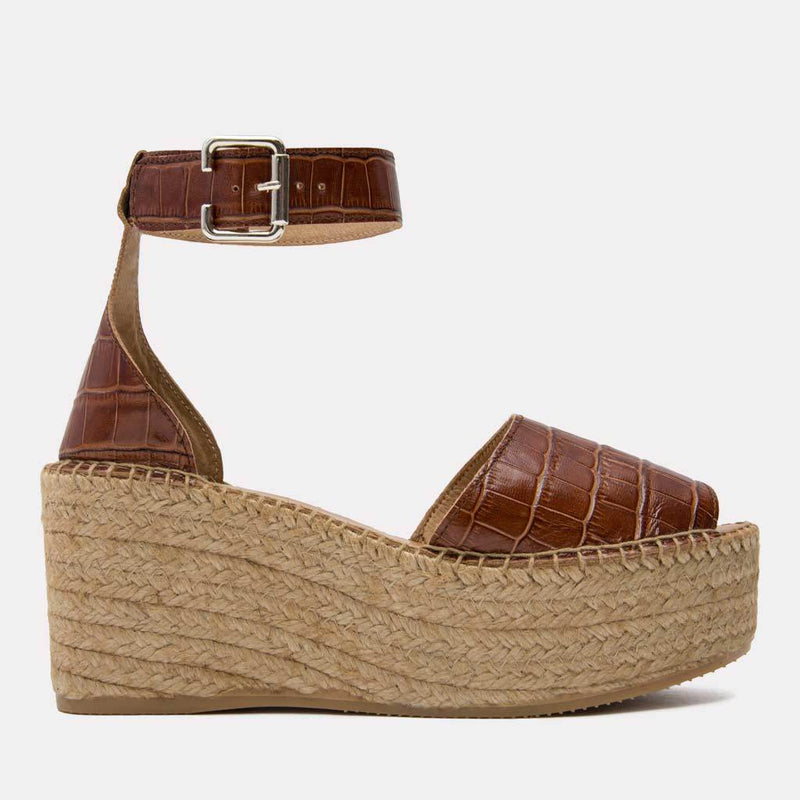 Espadrille - Luz Embossed Crocodile Leather Espadrille Wedge (Cognac Croc)