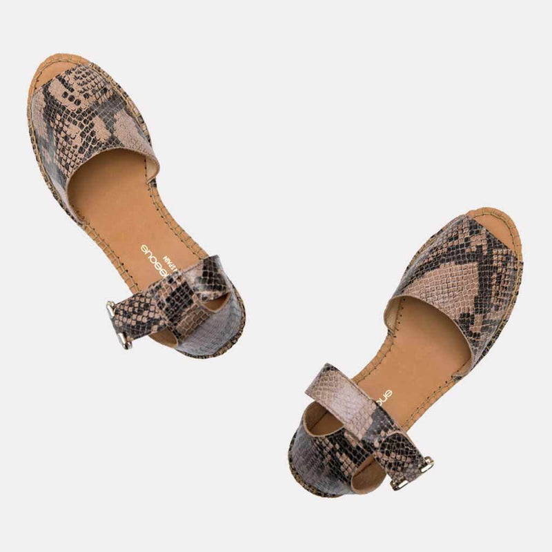 Espadrille - Luz Printed Snake Leather Espadrille Wedge (Sand Snake)