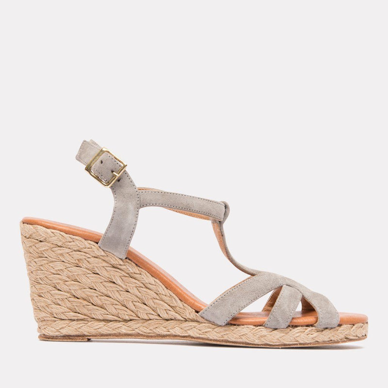 Espadrille - Madina Suede Espadrille Sandal Wedge (Gray Suede)