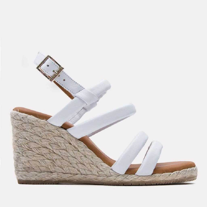 Espadrille - Rebecca Leather Espadrille Wedge (White)