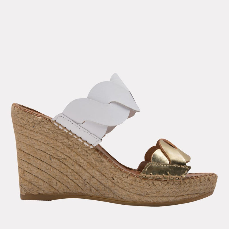 Espadrille - Rumy Leather Scallop Espadrille (Platino/White)