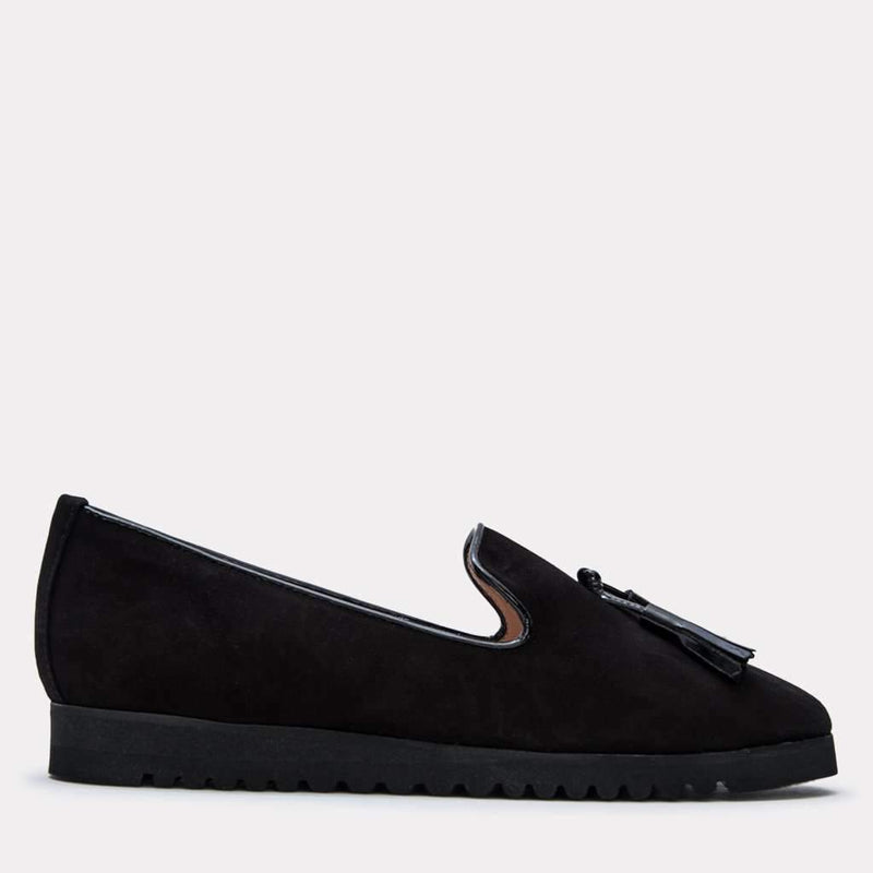 Flat - Jillie Suede Loafer (Black)