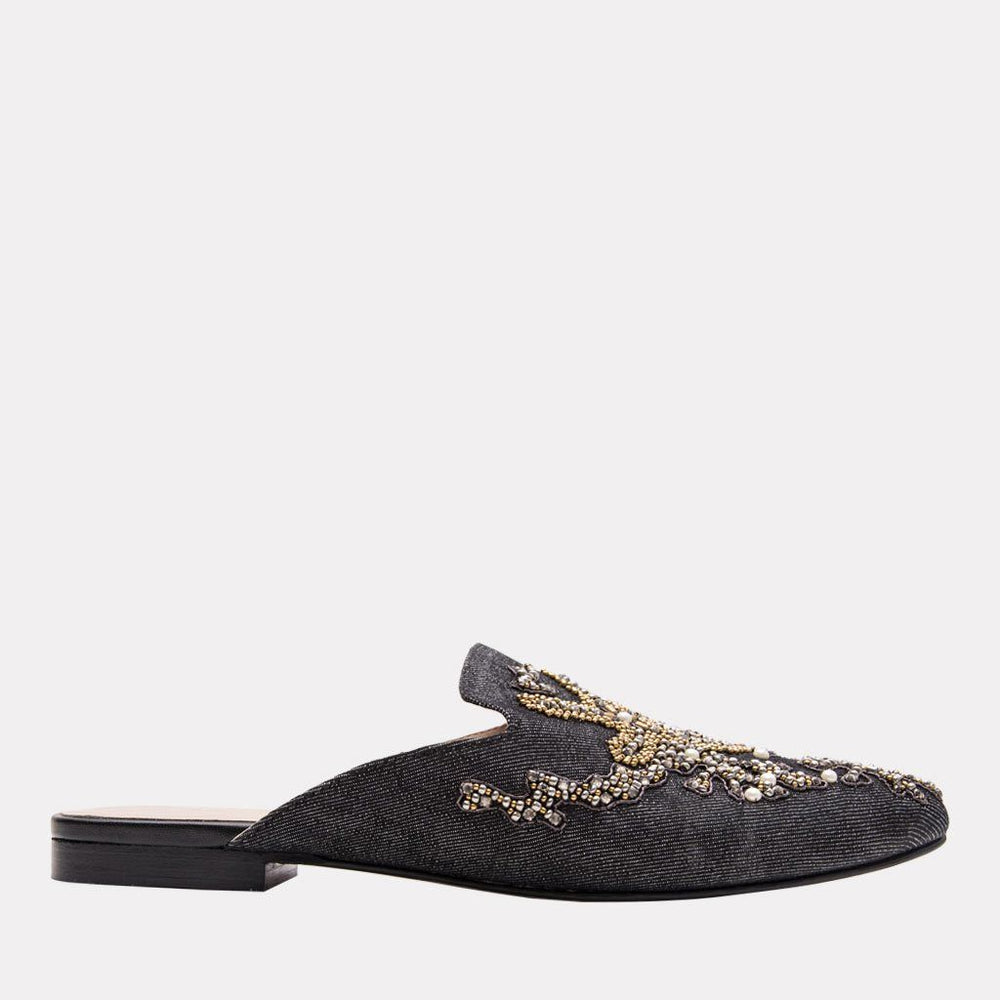 Flat - Karl Denim Mule (Black Metallic)