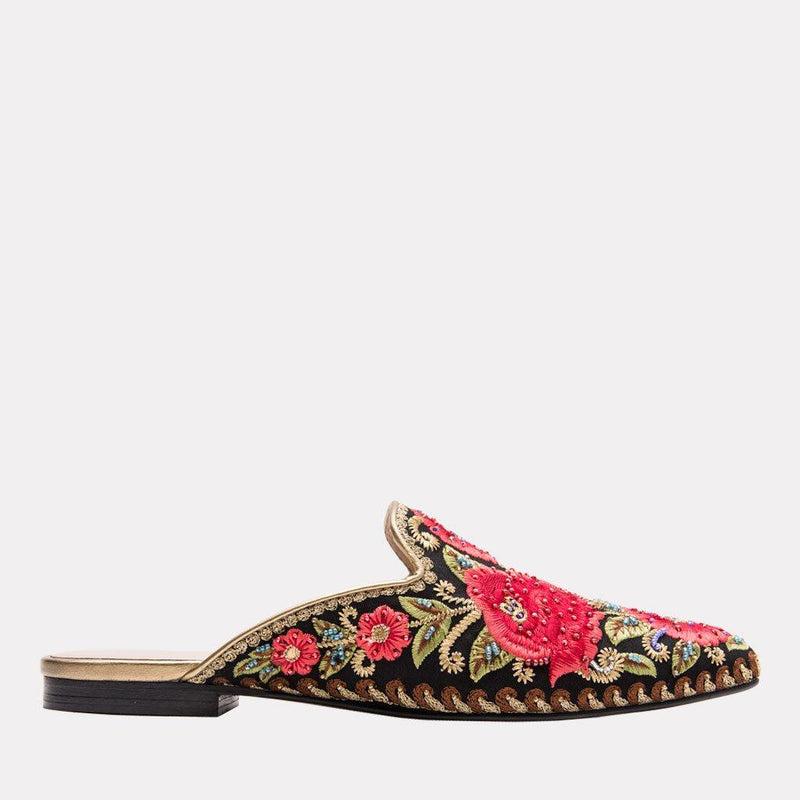 Flat - Kosa Embroidered Textile Mule (Black Multi)