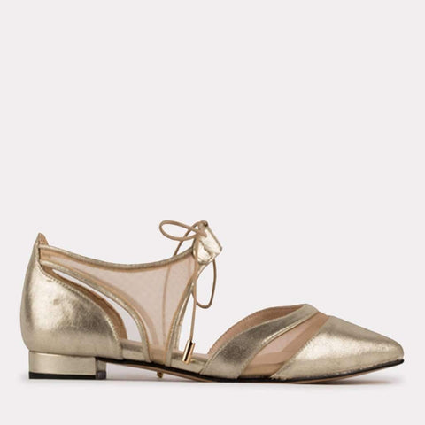Maddie Suede Flat (Gold Brushed Nappa)