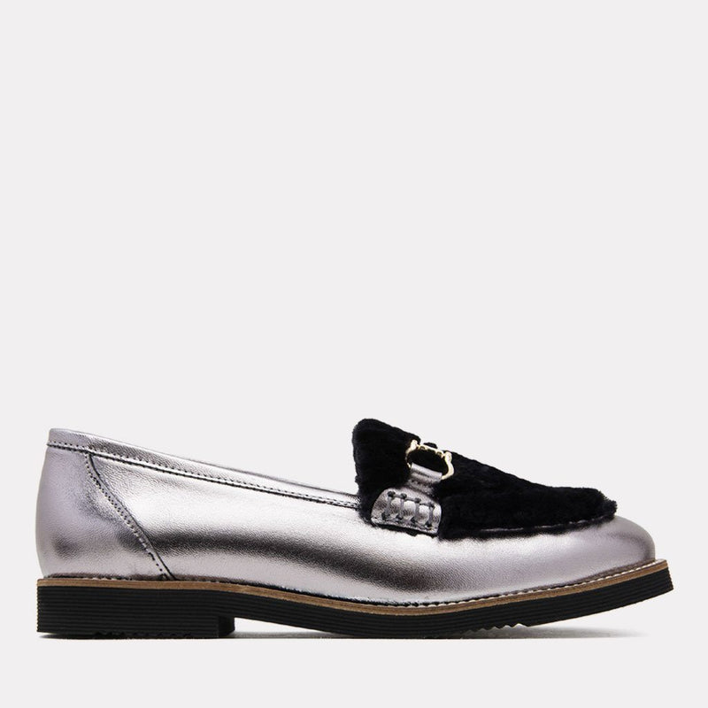 Flat - Pascale Too Metallic Leather Loafer (Silver/Black Metallic)