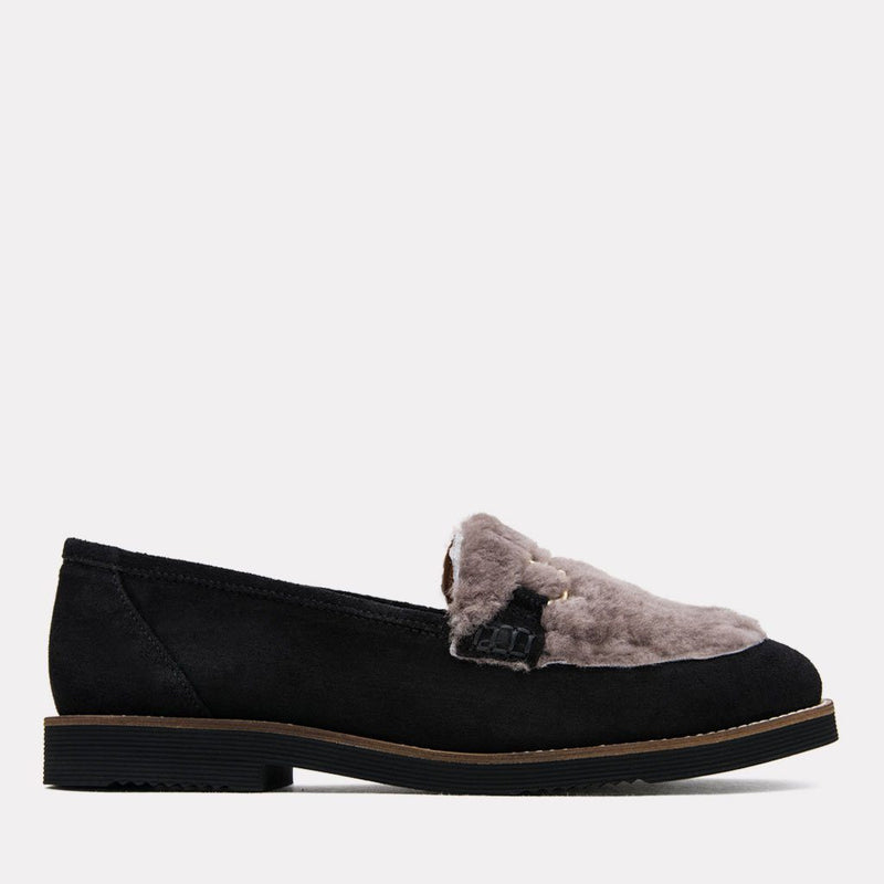 Flat - Pascale Too Suede/Fur Loafer (Black/Grey Suede)