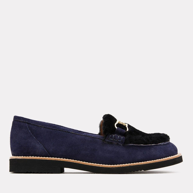 Flat - Pascale Too Suede/Fur Loafer(Navy)
