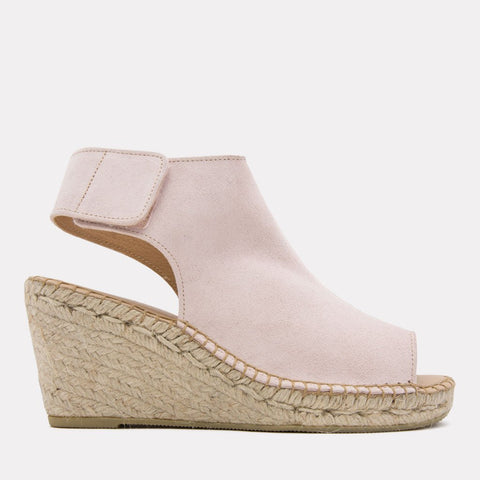 Flora Suede Espadrille Wedge (Blush)