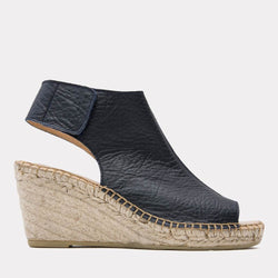 Flora Pebbled Leather Espadrille Wedge (Navy)