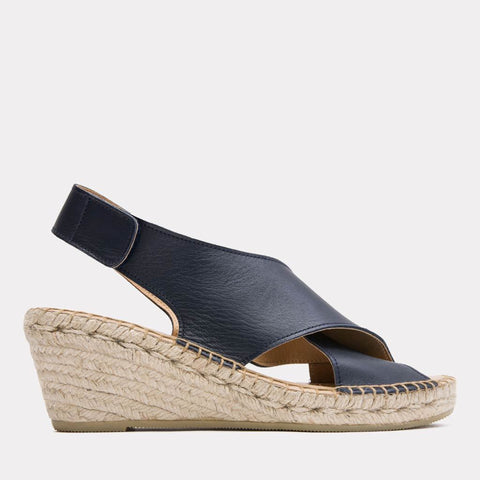 b3b315329bfa2 Florence Leather Espadrille Wedge Sandal (Black) – Andre Assous