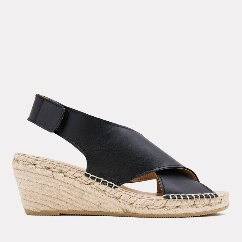 e9b880b461 Florence Leather Espadrille Wedge Sandal (Black) ...