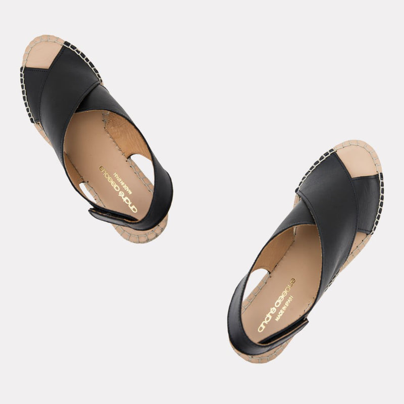 Florence Leather Espadrille Wedge Sandal (Black)
