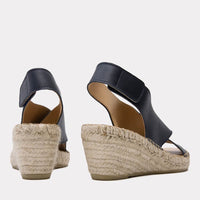 Florence Leather Espadrille Wedge Sandal (Navy)