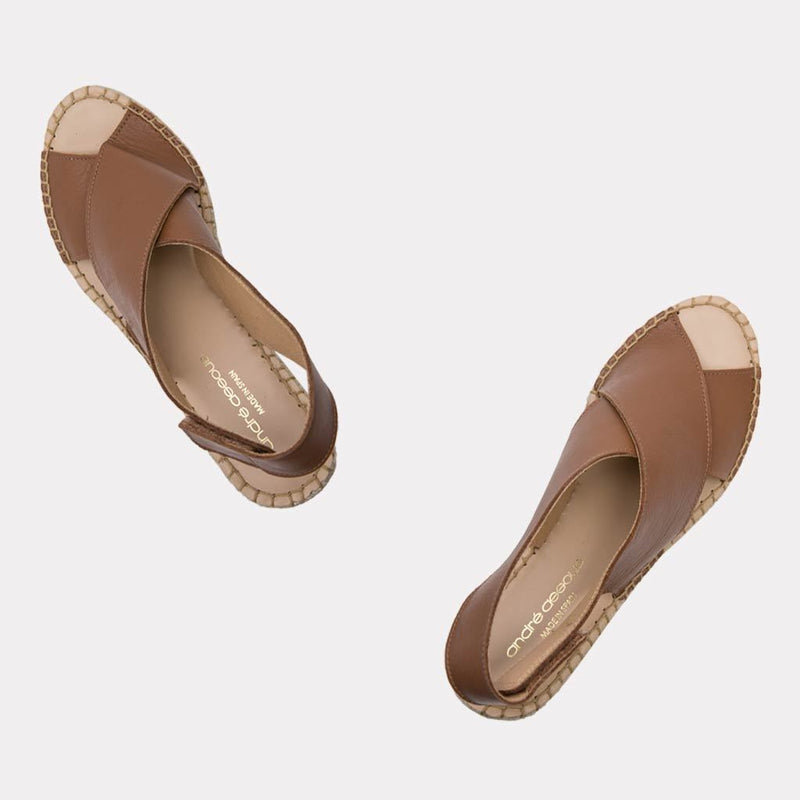 Florence Leather Espadrille Wedge Sandal (Cuero)