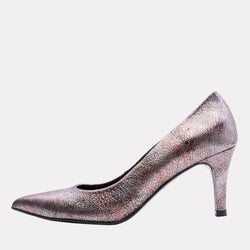 Heel - Onassis Crackled Leather Pump (Lead)