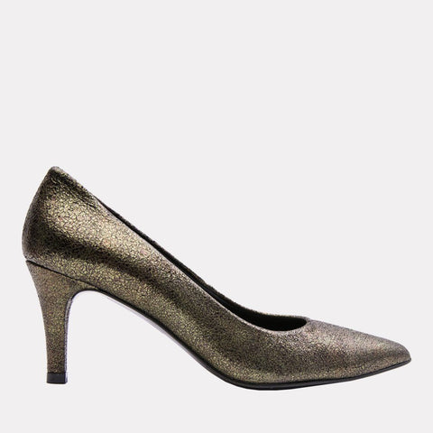 Onassis Crackled Leather Pump (Moss)