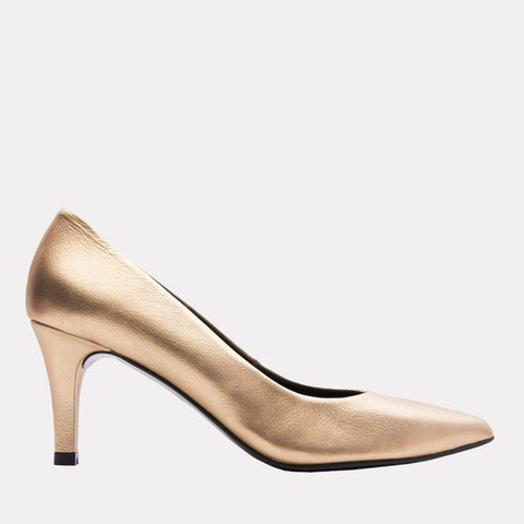Onassis Metallic Leather Pump (Gold Metallic)