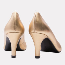 Heel - Onassis Metallic Leather Pump (Gold Metallic)