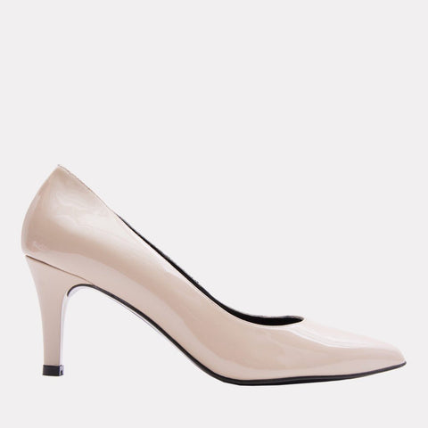 Onassis Patent Leather Heel (Sand Patent)