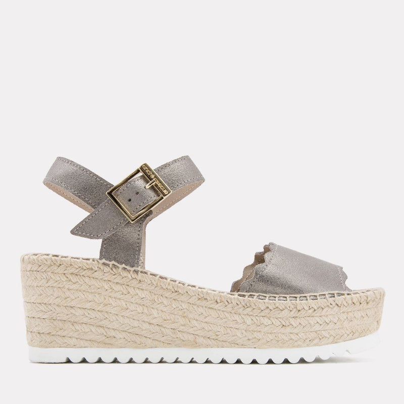 Sandal - Cacia Brushed Suede Sandal Wedge (Pewter Suede)