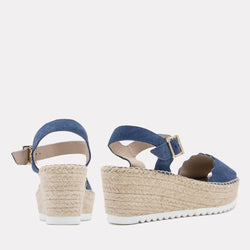 Sandal - Cacia Suede Sandal Wedge (Blue Suede)