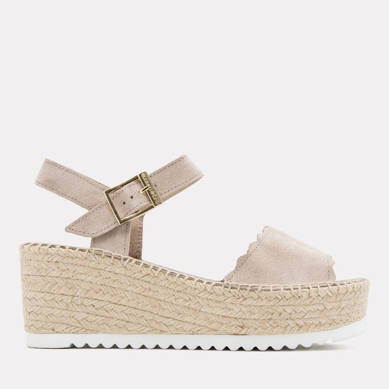 Sandal - Cacia Suede Sandal Wedge (Ivory Suede)