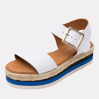 Sandal - Cindy Leather Wedge (White)