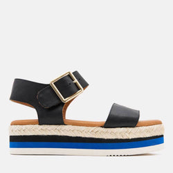 Sandal - Cindy Napa Leather Sandal Wedge (Black)