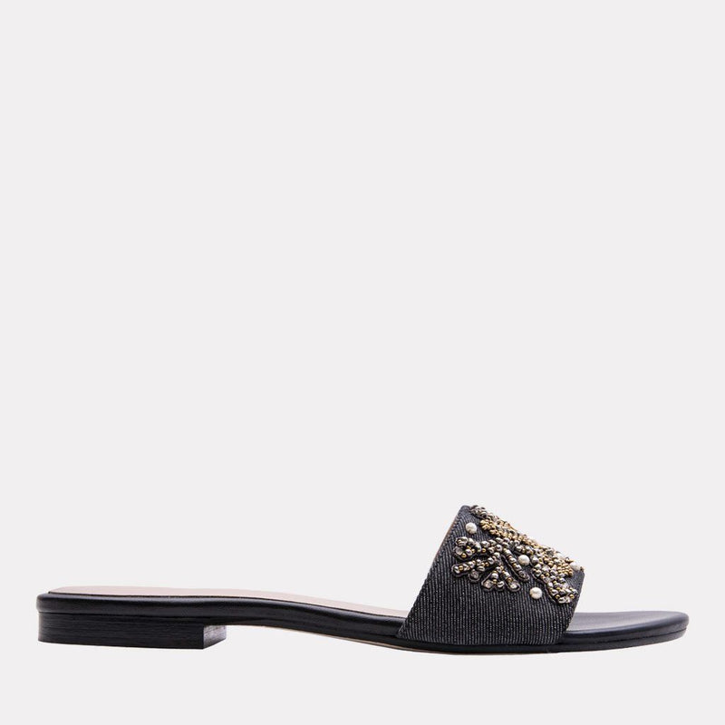 Sandal - Karina Denim With Beading Slide (Black Metallic)