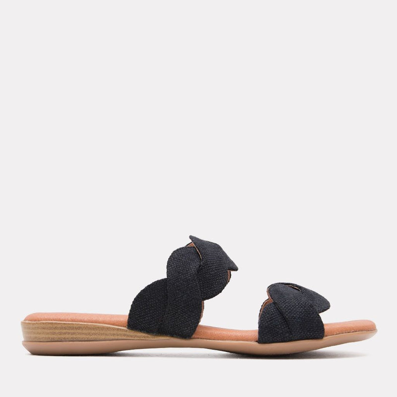 Sandal - Nadia Canvas Scallop Slide (Black Canvas)