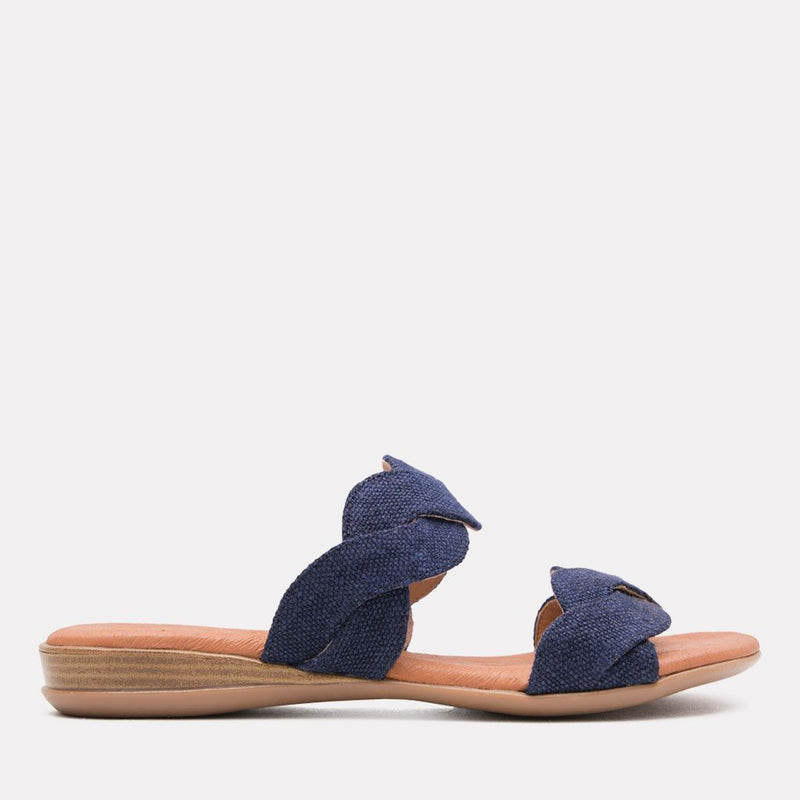 Sandal - Nadia Canvas Scallop Slide (Navy Canvas)