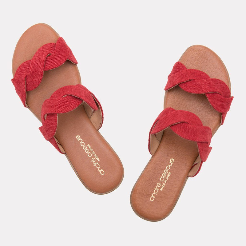 Sandal - Nadia Canvas Scallop Slide (Red Canvas)
