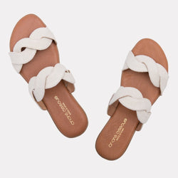 Sandal - Nadia Canvas Scallop Slide (White Canvas)