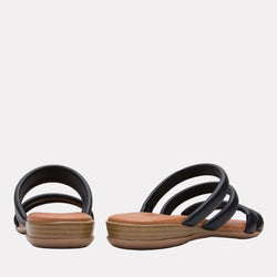 Sandal - Nalia Split Leather Slide (Black)