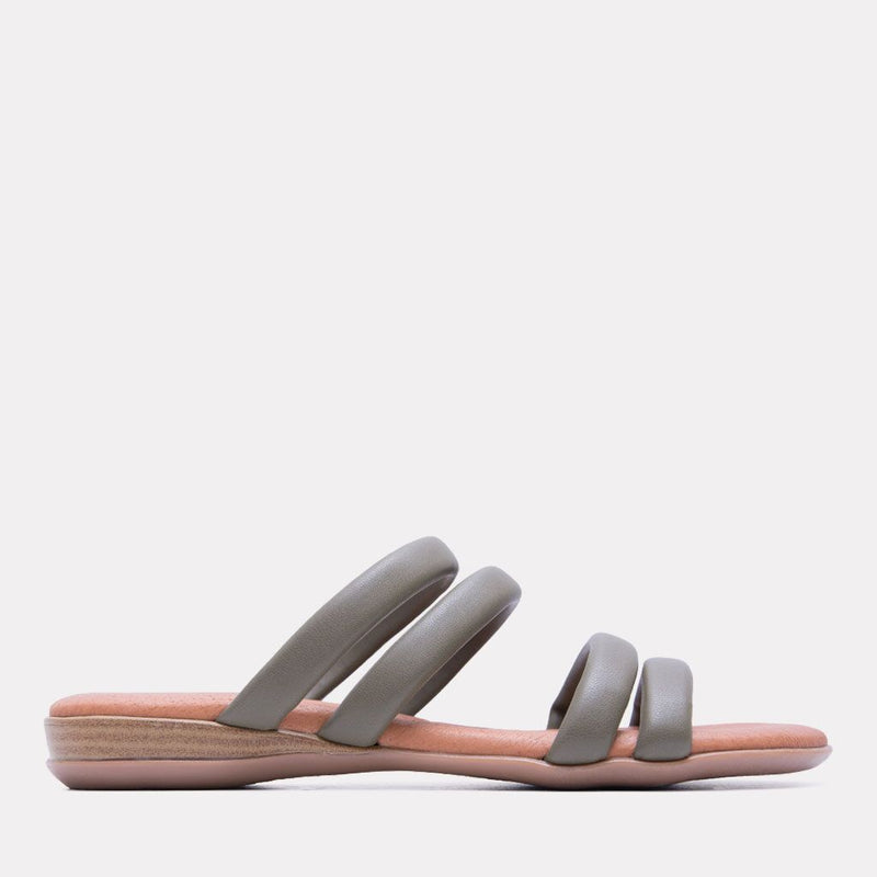 Sandal - Nalia Split Leather Slide (Khaki)