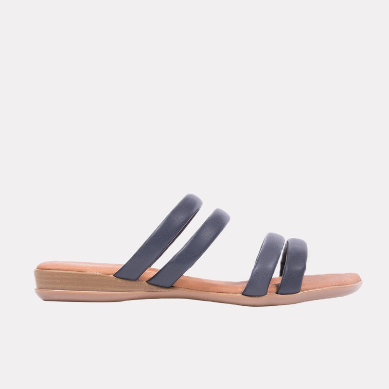 Sandal - Nalia Split Leather Slide (Navy)