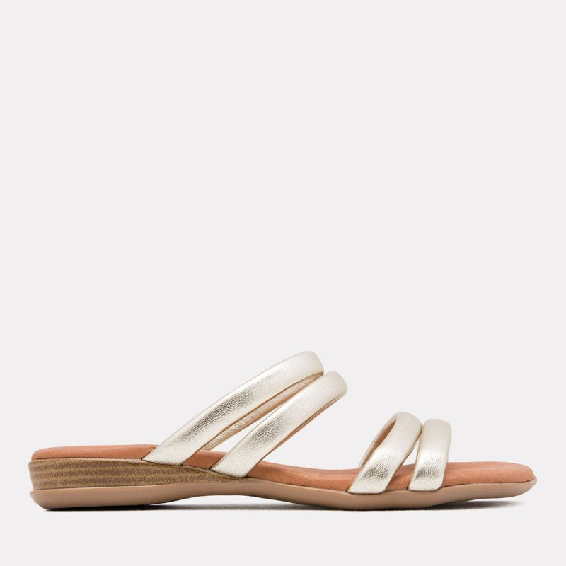 Sandal - Nalia Split Leather Slide (Platino Metallic)