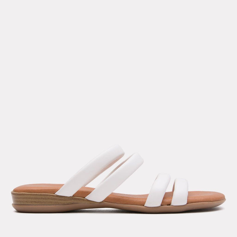 Sandal - Nalia Split Leather Slide (White)