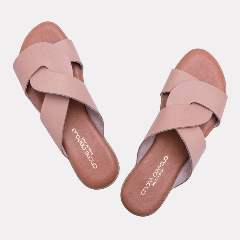 Sandal - Noelle Vaquetta Leather Slide (Blush)